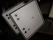 Strobe White Finish on Electrical Enclosure Door with Stenciling in Ink